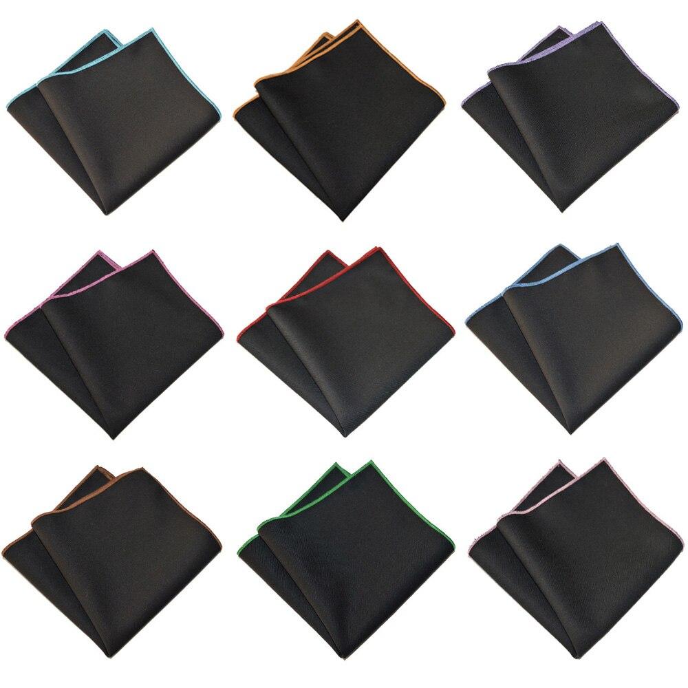 Men Cotton Colorful  Black Pocket Square Wedding Party Handkerchief Hanky BWTYX0504