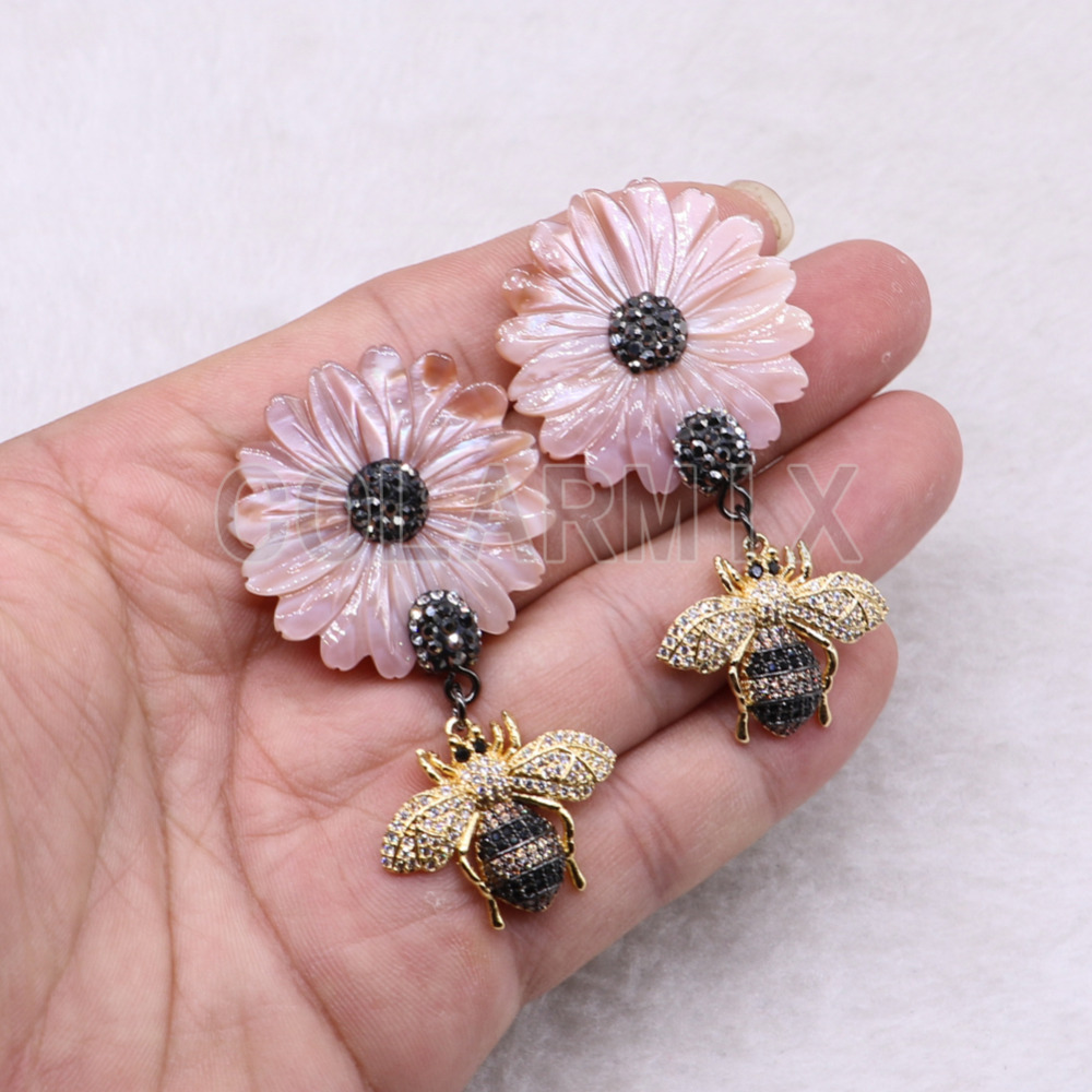 3 pairs natural Shell daisy earrings with bee charm handcrafted wholesale jewelry gift for women 3692