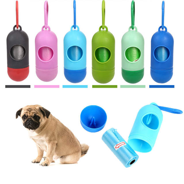 Us 1 15 Off Pill Shape Pet Dog Bag Dispenser Waste Garbage Bags Carrier Holder Dogs Accessories In