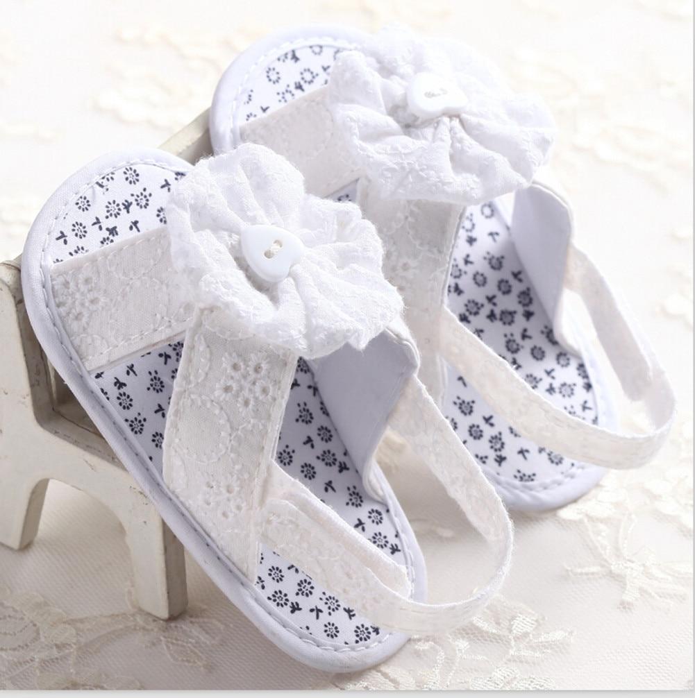 Newborn Baby Girls Summer Sandals Cotton Flower Soft Sole Crib Princess Shoes Pink White Blue Sandals