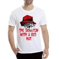 2017 New Harajuku Red Hat Skull Printing T Shirt Hipster Tops Customize Printed Modal Short Sleeve