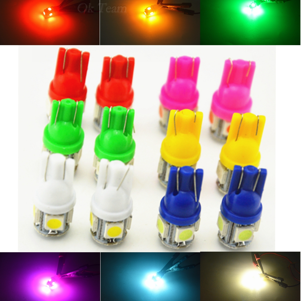 <font><b>10</b></font> <font><b>PCS</b></font> <font><b>T10</b></font> 5SMD 5050 Car <font><b>LED</b></font> Auto Lamp 12V 1W XENON Light bulbs W5W 194 6 Colors White / Blue / Red / Yellow / Green/Pink image