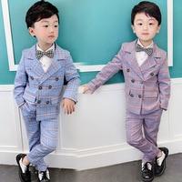 2019 Spring Formal Children's Suit Sets Boy Plaid Blazer Pants 2pcs Outfits Kids Piano Performance Party Wedding Costume