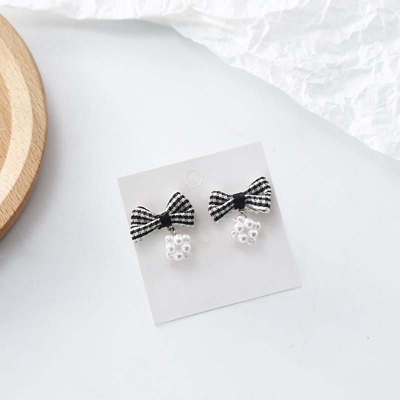 Korean Cute Sweet Plaid Bow Knot Pearl Ball Woman Girls Stud Earrings Fashion Jewelry Holiday KQQE in Stud Earrings from Jewelry Accessories