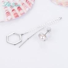 I&zuan 14K white gold earrings 0.007ct natural diamond trendy drop earring & Cultured Freshwater pearl  earring for women