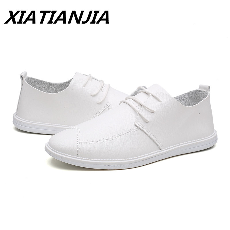 Summer Casual Shoes White Super Brazed Leather Shoes Men Breathable Men Shoes Sneakers Loafers Men's Moccasins Chaussure Homme