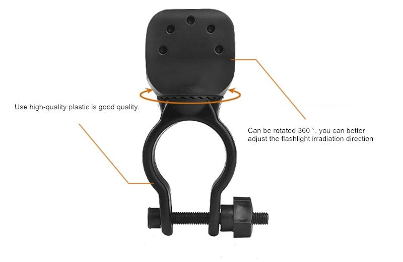 Led Bicycle Light Torch Clip Clamp Universal 360 Swivel LED Flashlight Bike Mount Bracket Holder High Quality