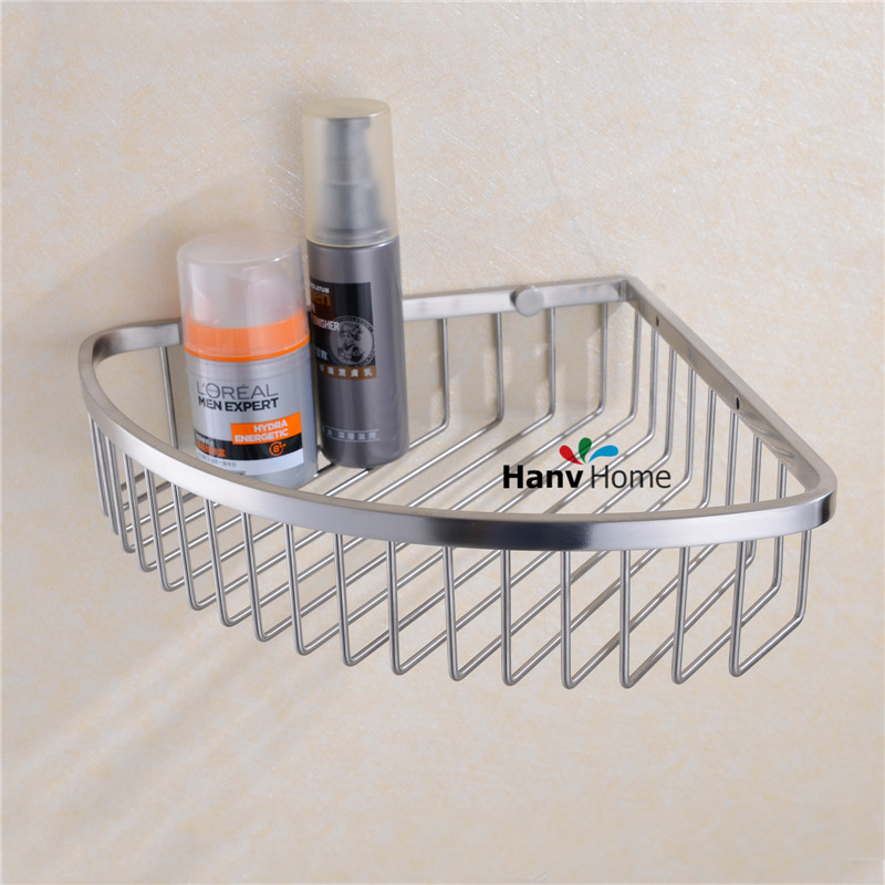 Stainless Steel Brushed Nickel Bathroom shower shelf Bracket Shelves Basket Wall mounted Caddy Storage 09-142