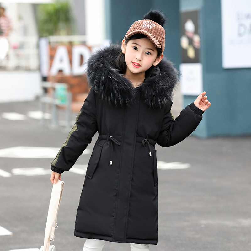 2018 New Children Winter Duck Down Girls Thickening Warm Down Jackets Boys long Big Fur Hooded Outerwear Coats Kids Down Jacket стоимость