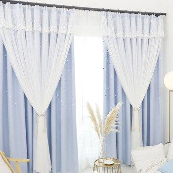 100 плотных штор | Корейская пасторальная оконная ткань специальная Короткая занавеска S для гостиной столовой спальни сплошной цвет полностью затемненные д...