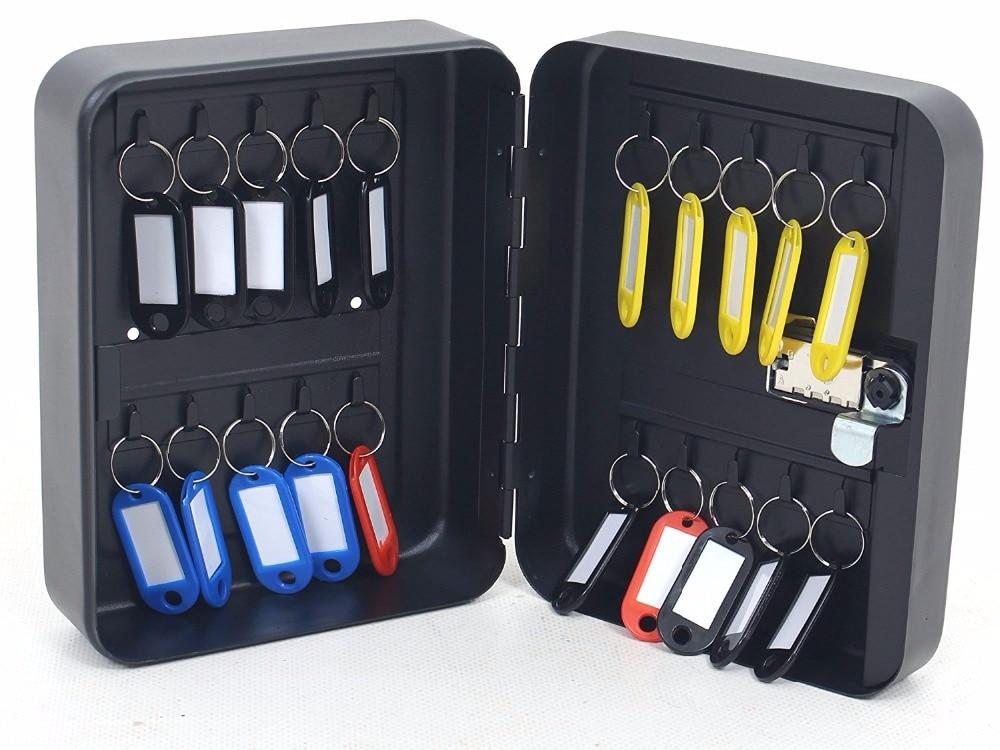 Combination 36 Key Cabinet Lockable Key Safe Storage Box Wall Mounted With Key Tags Black