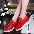 Slipony Заклепки Женская Обувь 2016 Новый Холст Высота Увеличение Женская Обувь женские Лифт Повседневная Обувь Горячие Продажа Zapatos Mujer