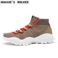 Мэгги Walker Новое поступление Для мужчин трикотажные ткани повседневная обувь моды шнуровкой платформы сетки обувь Размеры 39-44