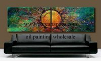 Hand painted oil wall art abstract green background painting 2 panel artwork on canvas pictures unframed
