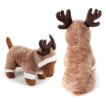 Cosplay Christmas Deer Pet Dog Costume Clothes Apparel Plush Puppy Teddy Winter Hoodie Jumpsuit S-XL