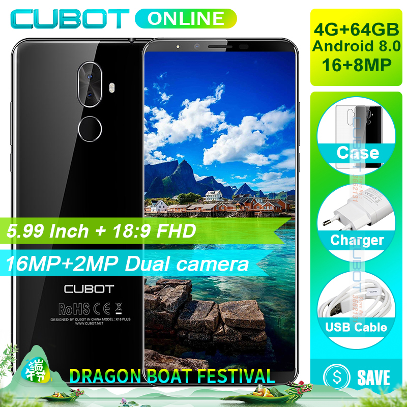 Cubot X18 Plus 18:9 FHD+ 4GB 64GB 5.99 Inch Smartphone Android 8.0 MT6750T Octa-Core 16MP+2MP Rear Cameras 4000mAh 4G Celular