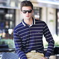 OSCN7 Loose Leisure Long Sleeve Polo Shirts Men Spring New Business Plus Size Casual Camisa Polo Striped Print Polo Shirt