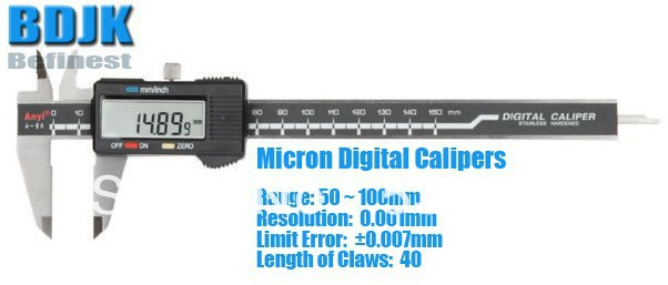 50 ~100mm Micron Digital Vernier Caliper / Measuring Tool / Instrument with 0.007mm Limit Error 0 300mm high precision digital vernier caliper measuring tool instrument with 0 025mm limit error