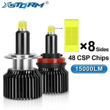 8 צדדים פנסי מכונית H1 H7 LED הנורה H8 H11 9005 HB3 9006 HB4 טורבו Led automotivo 15000LM 12V 24V 6000K לבן אוטומטי מנורה