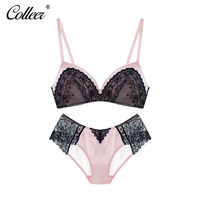 COLLEER Newest Bra Set Underwear Sexy Chemical Lace Transparent Ultra Thin Adjustable Lace Push Up Bra