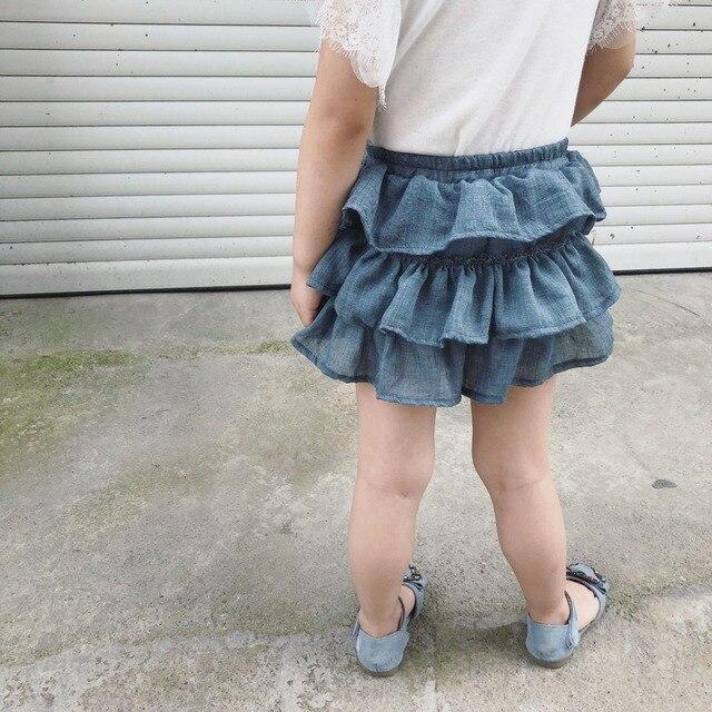 Falda pantalón con volantes beige 3
