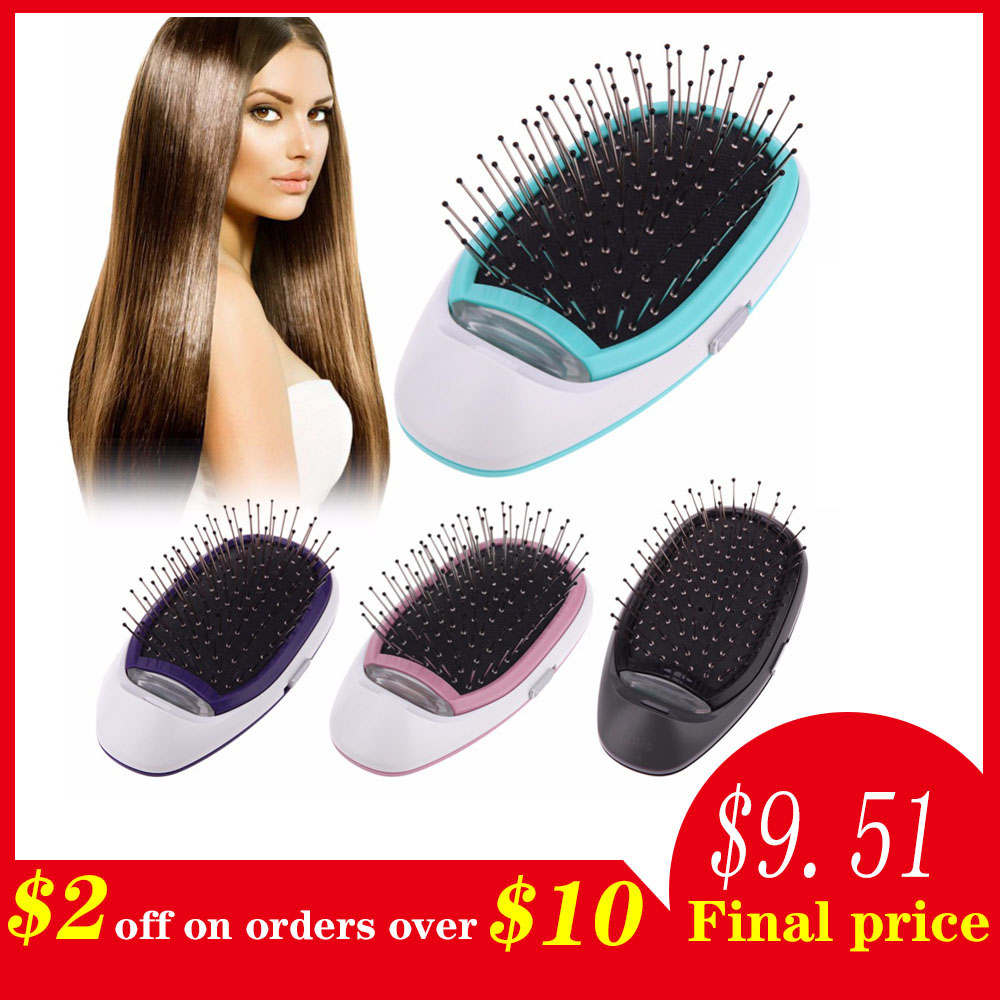 Cepillo eléctrico iónico para el cabello, cepillo de pelo iónico eléctrico portátil iones negativos cepillo para el cabello