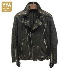 Роскошная брендовая натуральная кожаная куртка в стиле хип-хоп, мужская куртка из овчины, Классическая винтажная зимняя байкерская куртка, тонкая верхняя одежда с длинным рукавом