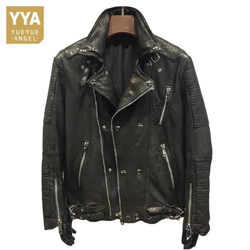 Luxury Brand Natural Leather Jacket Hip Hop Lover Sheepskin Coat Men Classic Vintage Winter Moto Jacket Slim Long Sleeve Outwear