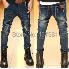 Бесплатная доставка осенью новый мальчик, детская одежда джинсы мальчик моды джинсы, мальчик хан издание джинсы, дети рваные джинсы