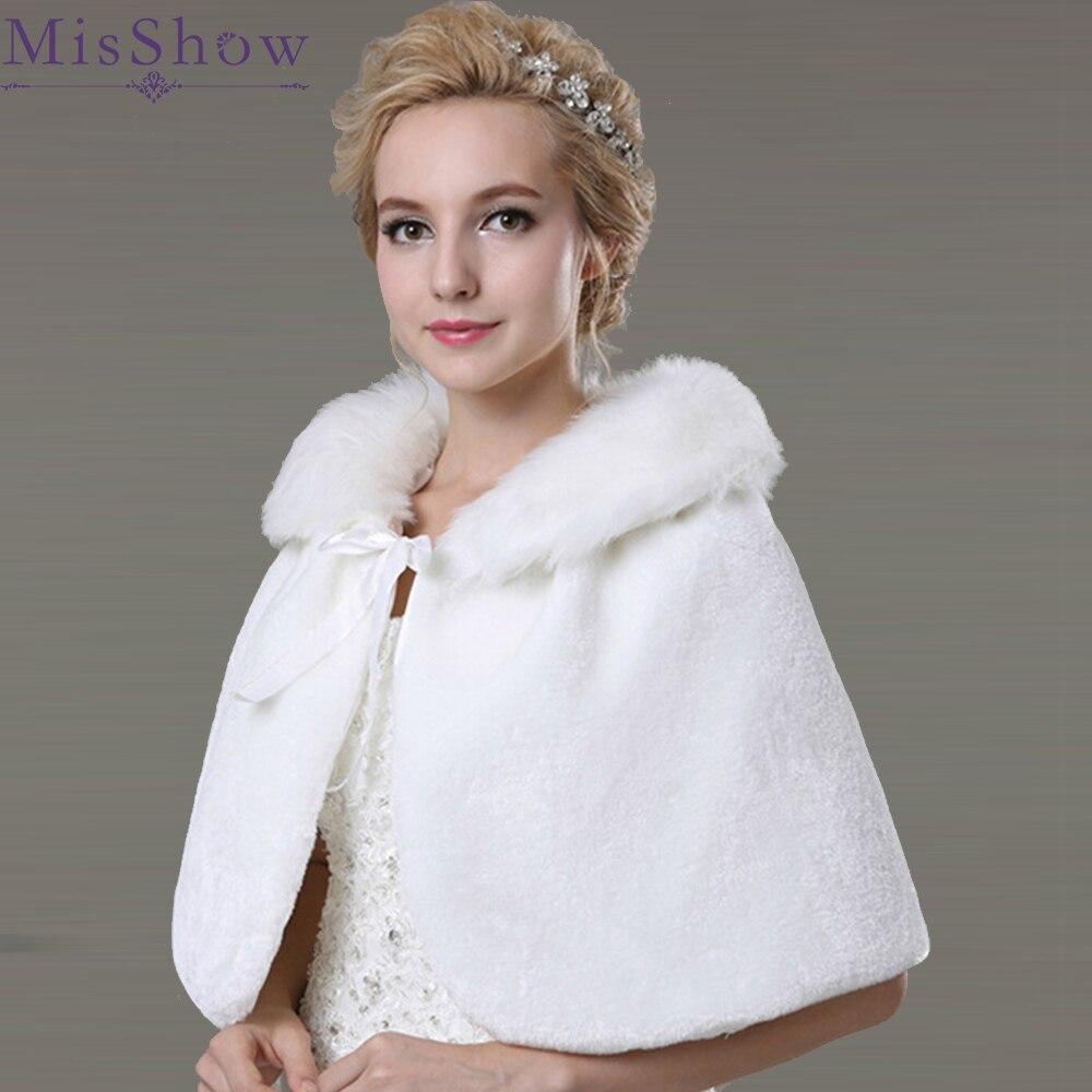 In Stock wedding bridal wraps 2019 White Faux fur bolero winter bride wedding shawls with bow evening Cape wedding accessories