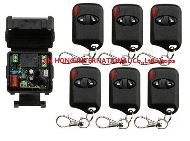 AC220V 1ch Беспроводной Дистанционное управление переключатель Системы teleswitch 1 * приемник + 6 * кошачий глаз передатчики для Приспособления ворот...