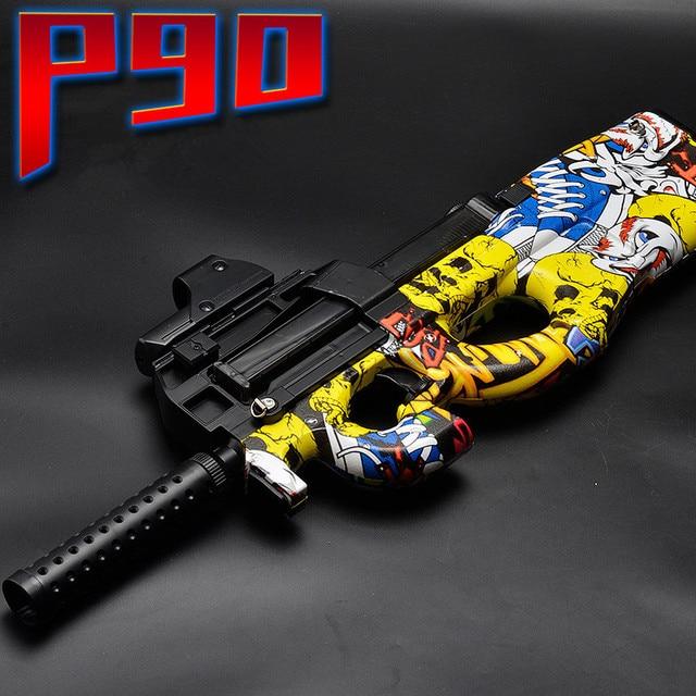 P90 Electric Toy GUN Water Bullet Bursts Gun Graffiti Edition Live CS Assault Snipe Weapon Outdoor Pistol Toys lepin