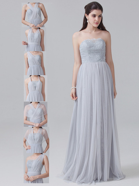 Sliver Bridesmaid Dress 2017 Variety of Styles Tulle Lace Long Dress ...