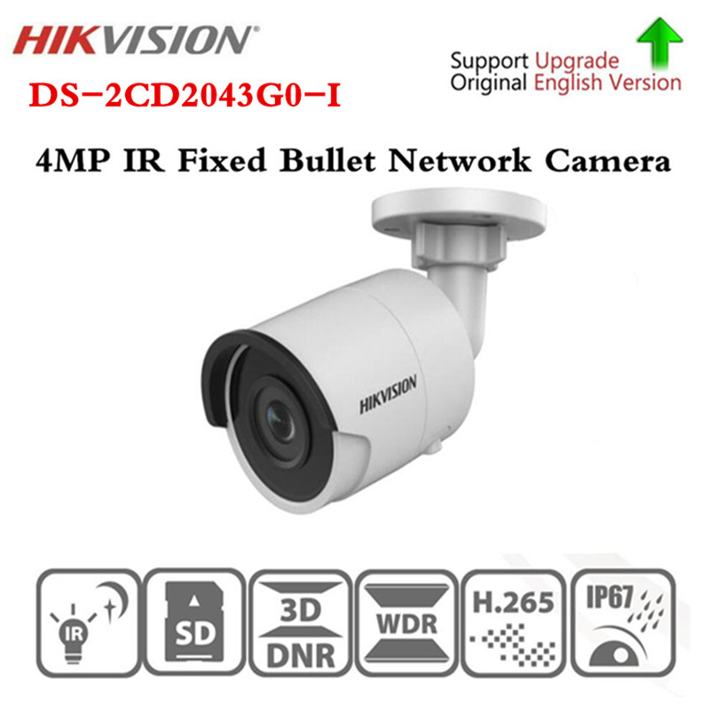 Original Hikvision DS-2CD2043G0-I Replace DS-2CD2042WD-I 4MP IR 30M H265 Fixed Bullet Network Camera Free shipping hikvision international version ds 2cd2043g0 i replace ds 2cd2142fwd i 4mp ip camera support ezviz poe ir 30m outdoor