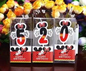 1pc Geburtstag Kerze Mickey Minnie Maus Kerze 2 Jahrestag Kuchen Zahlen Alter Kerze Partei Liefert Dekoration