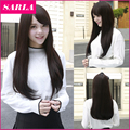 1PC Long Synthetic Straight Wigs With Bang Korean Full Head Cosplay Wig Black Attach Wig Cap as Gift for Women