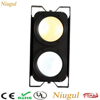 2 Eyes 2x100W Warm White +Cold White LED Audience Lights,DMX 200W LED COB Par Light,LED Blinder Stage Lighting For DJ Bar Club