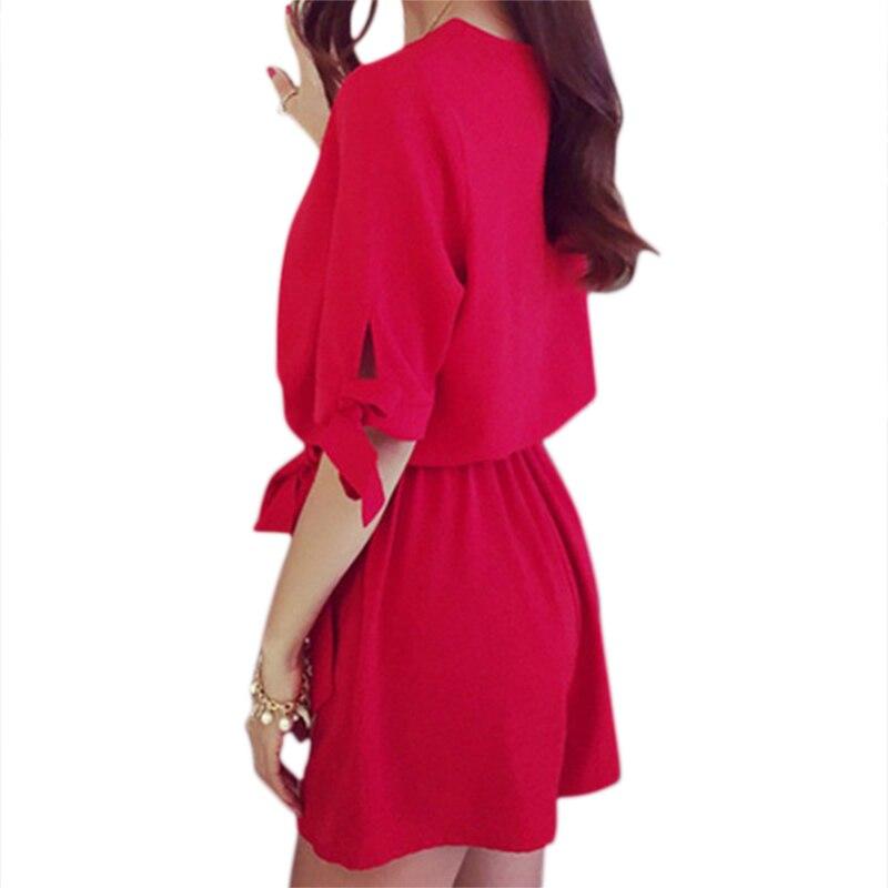 Летние Для женщин шифон Комбинезоны v-образным вырезом Рубашка с короткими рукавами одноцветное Цвет модные комбинезоны красные, черные P2 ...