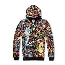 Фотография 2017 New Brand high quality Hoodies Rick and Morty Cartoon printing Men Hooded sweatshirts 3d pullover