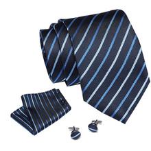 Business Classic Blue Black Striped Striped Neck Tie for Men  Brand Necktie Pocket Square Cufflinks Wedding Party Silk Tie Set