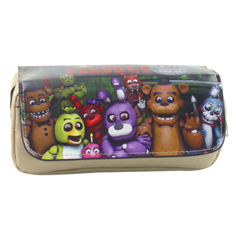 Cartoon Five Nights At Freddy Pen Bags Harem Game Animation Multifunctional Double Zipper Pencil Pouch Purse Stationery Bag Gift