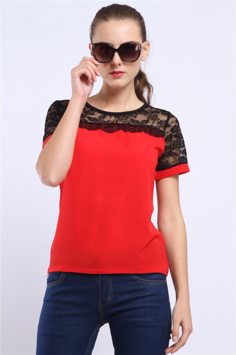 Women Blouses Summer Lace Chiffon Blouse Casual Blusa Feminina Tops Fashion Chemise Femme Shirts Plus Size 5XL Red White Pink 33