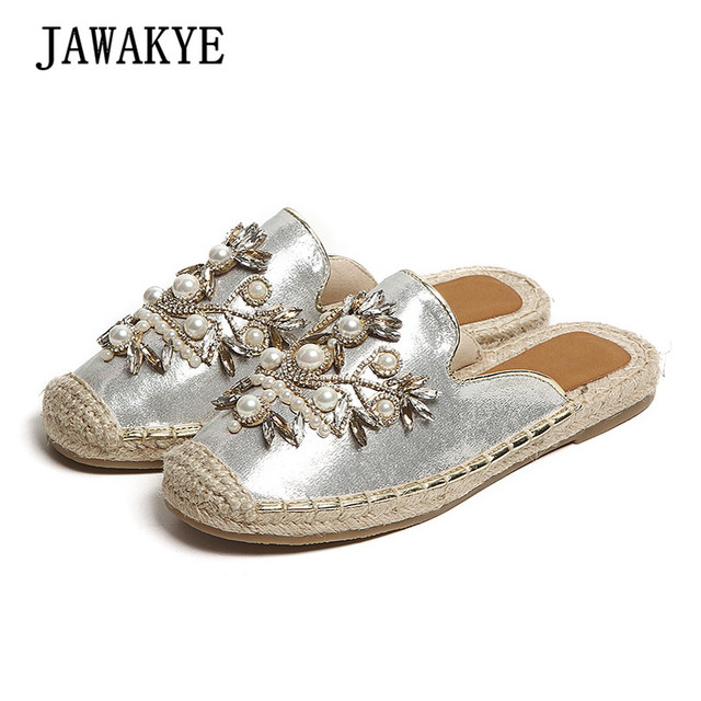 5bdc7305f35b8 Summer Casual Flat Jeweled Slippers Women Straw soles girls Mules flat heel Pearl  Flower Flip Flop