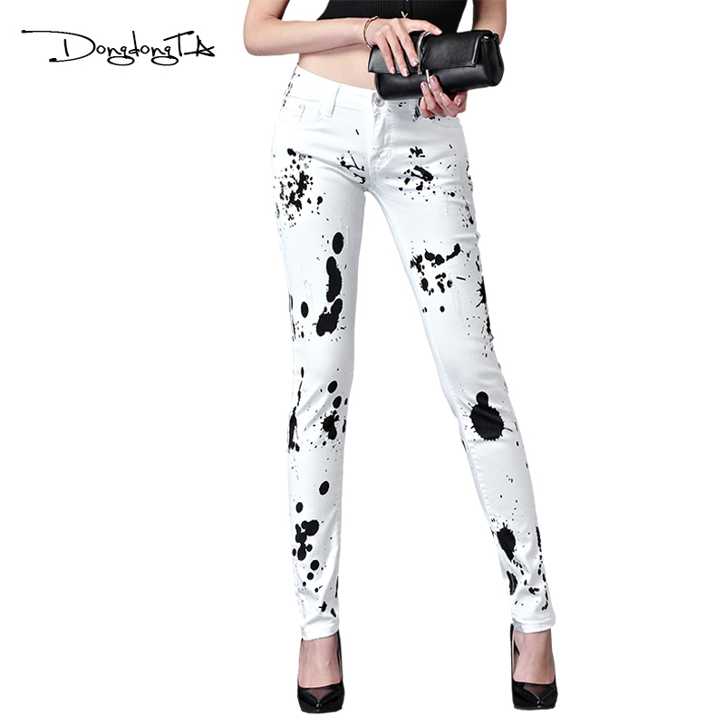 Dongdongta New Women Summer Jeans 2017 Original Design Full Length Painted Washed Skynny Pencil Pants Mid Waist Fashion Jeans hee grand women s candy pants 2017 pencil jeans ladies trousers mid waist full length zipper stretch skinny women pant wkp004