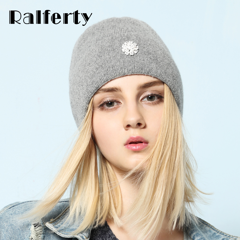 Ralferty 2018 Winter Knitting Rabbit Acrylic Beanies Hats for Women Gorros Bonnets Caps Woman's Hat Floral Decorate Skullies 2016 new fashion letter gorros hats bonnets