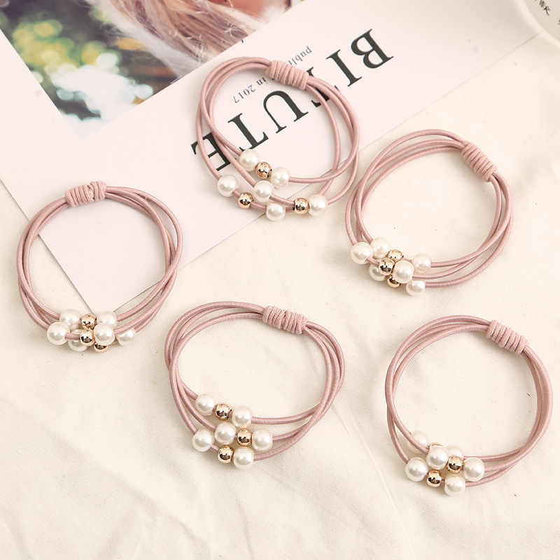 4Pcs/Lot Fashion Pearl Ball Rubber Bands Ring Headwear Girl Elastic Hair Bands Ponytail Scrunchy Rope Hair Accessories Jewelry