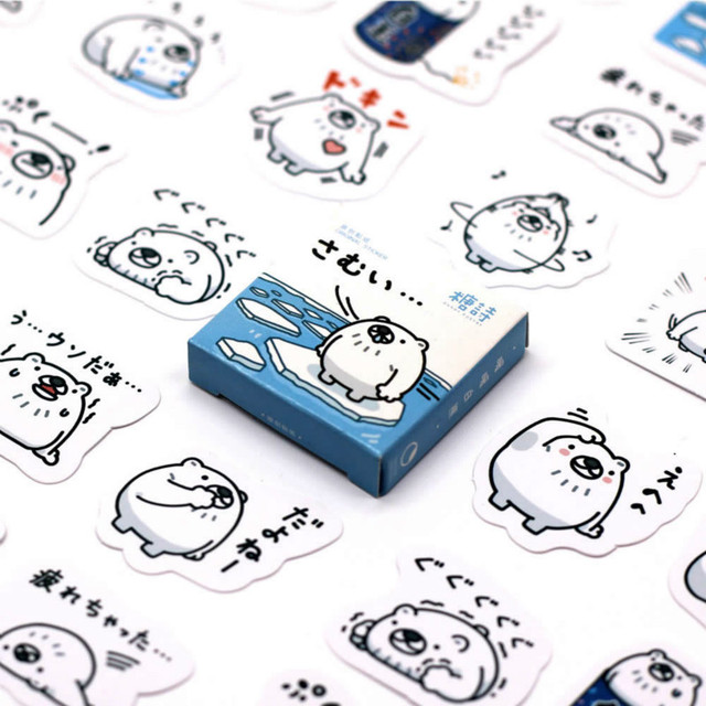40 PCS Lovely Polar Bear Sticker Animal Decals Stickers Gifts for Children to Laptop Suitcase Guitar Fridge Bicycle Car