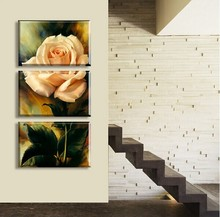 HOME DECOR High Precision Print Canvas ART PRINT Set of 3 Orange blooming roses Stretched CANVA Ready to Hang