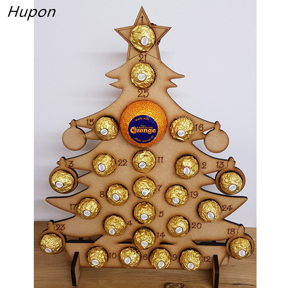 Wood Christmas Decorations.Us 9 94 27 Off Wooden Christmas Advent Calendars Wood Santa Christmas Tree Decorations Ferrero Rocher Chocolate Stand Wedding Display Stand In