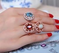 TYME multicoloridos anel de prata cor prata comércio exterior Semi-Anel de pedras preciosas para as mulheres